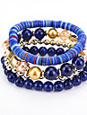 Women\'s Bohemian Multi Layer Strand Bracelet - Bohemian Natural Multi Layer Round Dark Blue Rainbow Red Bracelet For Birthday Party /