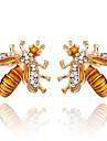 여성용 꿀벌 합성 다이아몬드 스터드 귀걸이 - 클래식 / 패션 골드 귀걸이 제품 파티 / 선물 / 일상