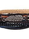 Men\'s Women\'s Leather Bracelet Strand Bracelet Wrap Bracelet Handmade Vintage Adjustable Personalized DIY Leather Alloy Round Feather