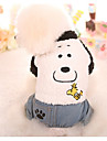 Dog Jumpsuit Dog Clothes Cartoon White Plush Fabric Cotton Costume For Spring &  Fall Winter Casual / Daily