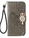 For Case Cover Card Holder Wallet Rhinestone with Stand Flip Embossed Pattern Full Body Case Owl Hard PU Leather for Samsung A5(2017)