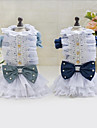 Dog Dress Dog Clothes Bowknot Dark Blue Light Blue Denim Costume For Summer Casual / Daily