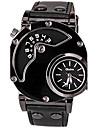 Oulm Men\'s Quartz Sport Watch Casual Watch Leather Band Casual Unique Creative Watch Dress Watch Fashion Cool Black