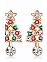 Women\'s Kid\'s Stud Earrings Fashion Chrismas Rhinestone Alloy Jewelry For New Year Christmas
