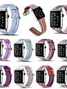 pour Apple Watch Series 3 2 1 arc-en-ciel a rayures bracelet en cuir veritable 38mm 42mm bande de bande de montre coloree