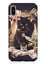Kılıf Na Apple iPhone X iPhone 8 Świecące w ciemności Wzór Wytłaczany wzór Czarne etui Kot Twarde PC na iPhone X iPhone 8 Plus iPhone 8