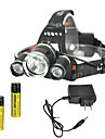 RJ-3000 Lampes Frontales Chargeurs Phare LED 4000 lm 4.0 Mode Cree XM-L T6 Rechargeable Tete crenelee pour Camping/Randonnee/Speleologie