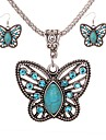 Women\'s Drop Earrings Necklace Turquoise Vintage Fashion Daily Turquoise Alloy Butterfly 1 Necklace Earrings