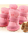 Cat Dog Pet Shoes Flat Keep Warm Leisure Solid Brown Pink For Pets