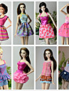 Princess Costumes For Barbie Doll Dresses Skirts Tops Pants For Girl's Doll Toy