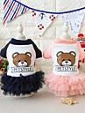 Cachorro Vestidos Roupas para Caes Animais Vestidos e Saias Animal Carta e Numero Urso Azul Rosa claro Ocasioes Especiais Para animais de