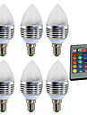 YWXLIGHT® 6pcs 4W 300-400lm E14 LED Candle Lights 1 LED Beads High Power LED Dimmable Decorative Remote-Controlled RGB