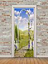경치 아라베스크 벽 스티커 플레인 월스티커 3D 월 스티커 데코레이티브 월 스티커 냉장고 스티커, 비닐 홈 장식 벽 데칼 냉장고 벽 장식 1 개