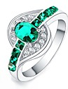 Women\'s Statement Ring - Crystal, Zircon, Silver Plated Statement, Fashion 6 / 7 / 8 / 9 / 10 Green / Blue / Pink For Daily