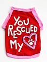 Dogs / Cats / Pets Vest Dog Clothes Heart / Slogan / Cartoon Red / Blue Cotton Costume For Pets Male Casual / Daily / Cute Style