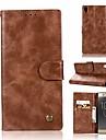 Etui Til Sony Xperia XA1 Ultra Lommebok / Kortholder / med stativ Heldekkende etui Ensfarget Hard PU Leather til Sony Xperia XA1 Ultra
