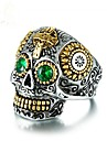 Cubic Zirconia Geometric Band Ring - Skull Vintage 8 / 9 / 10 Green For Party / Gift