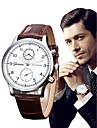 Men\'s Wrist Watch Quartz Leather Black / Brown Chronograph Analog Luxury Elegant - Black Brown One Year Battery Life / SSUO LR626