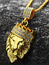 Men\'s Pendant Necklace - 18K Gold Plated, Imitation Diamond Lion, Animal, Crown Personalized, Rock, Hip-Hop Gold Necklace 1pc For Party, Gift, Daily