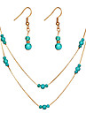 Women\'s Turquoise Layered Jewelry Set - Drop, Gourd Simple, Fashion, Elegant Include Drop Earrings / Pendant Necklace Gold / Silver For Gift / Evening Party