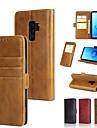 Etui Til Samsung Galaxy S9 Plus / S8 Plus Lommebok / Kortholder / med stativ Heldekkende etui Ensfarget Hard ekte laer til S9 / S9 Plus / S8 Plus