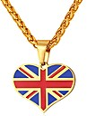 Men\'s Classic Pendant Necklace - Stainless Steel Heart, Flag British Heart Gold, Silver 55 cm Necklace Jewelry 1pc For Gift, Daily