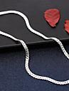 Muškarci Klasičan U obliku pletenice Choker oglice Lančići Ogrlica S925 Sterling Silver Vjera Skateboard Moda Hip-hop Boho Cool Pink 50 cm Ogrlice Jewelry 1pc Za Izlasci Jabuka / Duga ogrlica