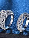 בגדי ריקוד נשים ניטים טבעת טבעת הגדר נחושת מצופה פלטינום יהלום מדומה לב אהבה נשים רומנטי אופנתי French Fashion Ring תכשיטים כסף עבור Party פגישה (דייט) 6 / 7 / 8 / 9 / 10 2pcs