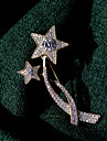 Men\'s AAA Cubic Zirconia Classic Brooches - Gold Plated Star Ladies, Korean Brooch Jewelry Gold For Street