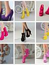Principessa / stile sveglio Scarpe 9 pcs Per Barbiedoll Nero PVC Scarpe Per Ragazza Bambola giocattolo
