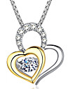Women\'s AAA Cubic Zirconia Geometrical Pendant Necklace trinity necklace Heart Dainty Simple Gold Silver 46 cm Necklace Jewelry 1pc For Wedding Engagement