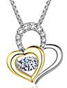 Damen Kubikzirkonia Geometrisch Pendant Halskette Trinity-Halskette Herz Zierlich Einfach Gold Silber 46 cm Modische Halsketten Schmuck 1pc Fuer Hochzeit Verlobung