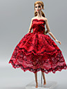 Party / Evening Dresses For Barbie-Doll Red Lace / Satin Dress For Girl\'s Doll Toy