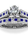 Για Ζευγάρια Cubic Zirconia Δαχτυλίδια Ζευγαριού Love Στυλάτο Πολυτέλεια Ευρωπαϊκό Ρομαντικό Μοδάτο Δαχτυλίδι Κοσμήματα Λευκό / Κόκκινο Για Δώρο Ημερομηνία 6 / 7 / 8 / 9 / 10 2pcs
